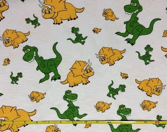 Dinos on cotton slub knit blend 1 yard