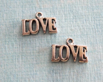 SALE 4 Pewter Love Charms 1100