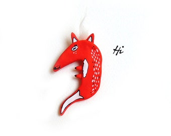 Fox Brooch, Animal Totem, Dry Clay Brooch, Animal Brooch, Woodland Brooch, Fox Jewelry, Fox Pin