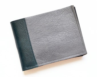 Leather Mens Wallet, Slim Leather Wallet, Classic Bifold for Men, Gray Bifold Wallet - The Frankie Wallet in Granite Grey and Emerald