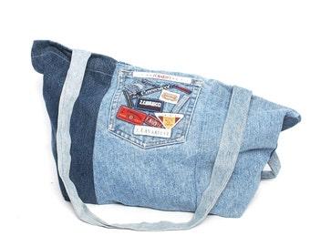 PATCHWORK denim jean 80s 90s Z. CAVARICCI large tote overnight bag