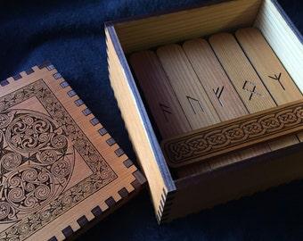 4 inch Anglo Saxon  Cedar Rune Staves