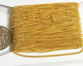 10ft of Gold plated tiny curb chain - 1.3mm - Soldered links