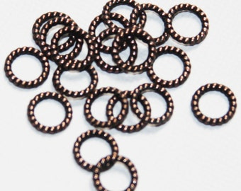 50 pcs of antiqued copper  finished alloy twisted jumpring 8mm, closed jumprings, closed connector