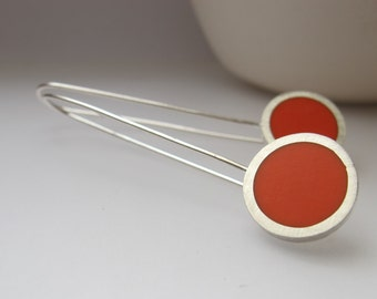 Orange Earrings - Orange Dangle Earrings - Resin Jewellery - UK Gift for a Sister - Pop