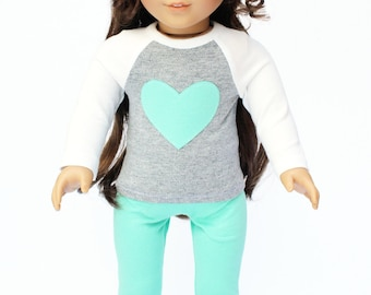 Fits like American Girl Doll Clothes - Heart Raglan Tee and Seafoam Leggings, Made To Order