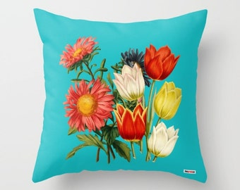 Floral pillow - Flowers pillow cover - Vintage pillow cover - colorful pillow - pillow case - cushion cover