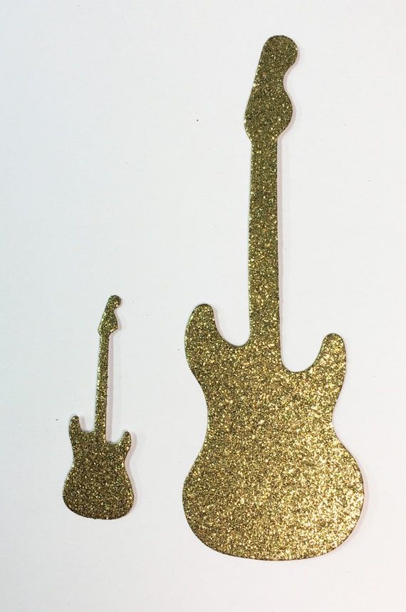 "Electric Guitar Die Cut Gold Glitter Cardstock 2"" & 4"" Sizes Embellishment Scrapbook Greeting Card Mixed Media Paper Art Craft Altered Attic"