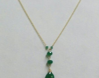 Green Onyx Y Necklace, Green Onyx Pendant Necklace, Green and Gold Necklace, Gold Y Necklace in 14k Gold Fill by Maggie McMane Designs