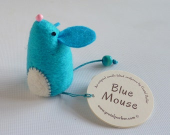 Needle felted mouse, needle felt mouse, mouse ornament, felt mouse, needle felt animal, cute mouse, blue mouse. mouse gift,  Gretel Parker