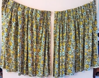 Mid Century Curtains Yellow Blue Floral Drapes 1 pair