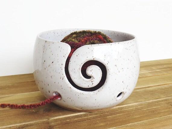 Ceramic Yarn Bowl in Glossy White Glaze Knitting Bowl - Spiral Design with 2 holes