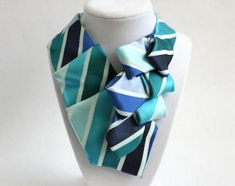 Necktie Necklace - Necktie Scarf - Work Wear - Womens Necktie - Silk Neckererchief - Gift For Mom  - Teal and Blue Striped Tie. 34