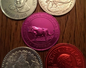 Set of 5 Aluminum Coins or Tokens all different