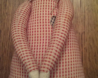 Handmade Red Checked Fabric Cat Doll