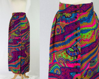 Vintage 1970's Psychedelic Maxi Skirt Day Glow Print