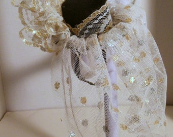 "Hat with gold and sliver veil for 18"" doll, fascinator"