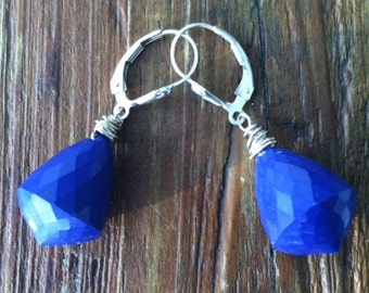 Faceted Royal Lapis Earrings