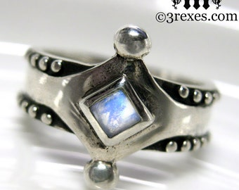 Silver Moonstone Ring Size 6 Medieval Band .925 Sterling Studs Unisex Wedding The Majestic