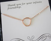 Rose Gold Karma Necklace, Infinite necklace, Infinity Jewelry, Best friend Gift,  Rose Gold Filled Necklace, Karma, Textured Circles