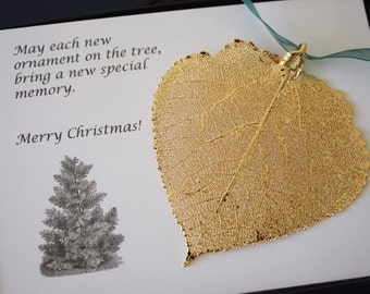 Gold Aspen Leaf Ornament, Real Aspen Leaf, Extra Large, Ornament Gift, Christmas Card, Happy Holiday Gift, First Christmas, ORNA66