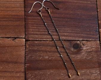 Oxidized Sterling Silver 14kt Gold Earrings - Minimalist Long Chain Earrings -Mixed Metal Earrings -Gold Bead Earrings -Dark Silver Earrings