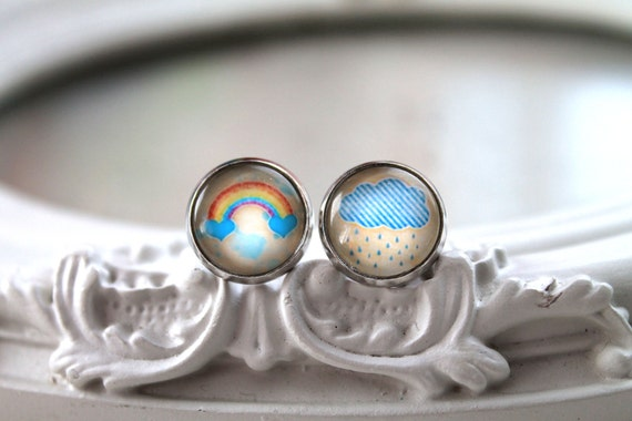 Pretty rainbow and rain cloud stud earrings sweet lolita feminine