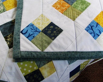 cotton and flannel quilt, gender neutral baby quilt, square blue and white quilt, quilt for elderly person