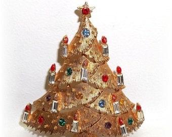 JJ Christmas tree pin baguette rhinestone candles Xmas Jonette Jewelry