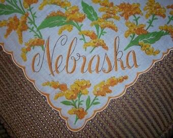 Vintage Nebraska State Hanky - Handkerchief Hankie
