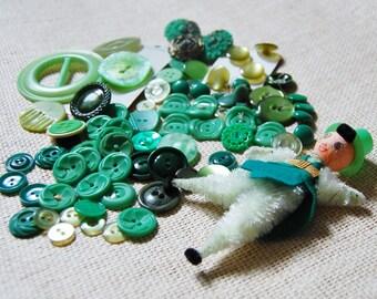 Vintage Lot Green Buttons 70+ 1930s 40s 50s 60s Spun Cotton and Chenille Figure Buckle Supply Destash