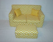 RESERVED for t  18 Inch Doll Sofa, Coffee Table, Yellow Chevron,  Handmade Doll Furniture