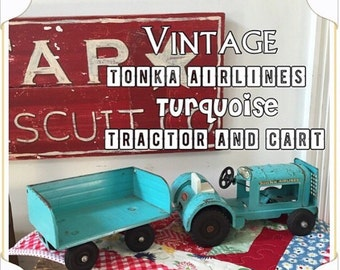 Vintage TONKA Turquoise Tractor and Trailer - Farm Girl Fun!
