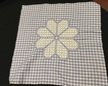 Vintage Purple and White Gingham Check with Chicken Scratch Embroidery Flower Fabric to Make a Pillowcase