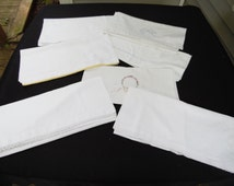 Lot of 7 Vintage White Cotton Pillowcases with a Variety of Trims
