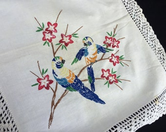 Vintage Off White Table Runner with Hand Embroidery Flowers and Birds and Crochet Trim