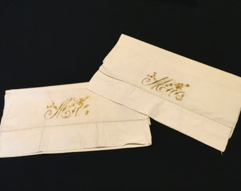 Pair of Vintage White Pillowcases with Gold Embroidery Mr. And Mrs.