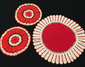 Set of 3 Vintage Hand Crochet Red and White Doilies (2 Could Be Potholders)