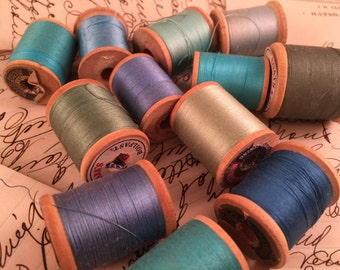 Lot of 12 Vintage Wooden Spools of Thread