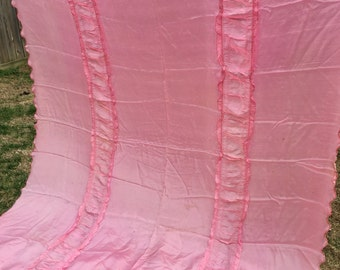 Vintage Pink Satin or Taffeta Coverlet with Ruffles