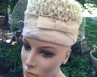 Vintage Ladies' Ecru/Off White Straw Hat with Velvet Trim and Nylon Ribbon and Bow