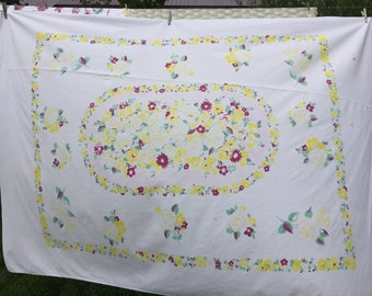 Vintage Yellow and Purple Floral Print Tablecloth