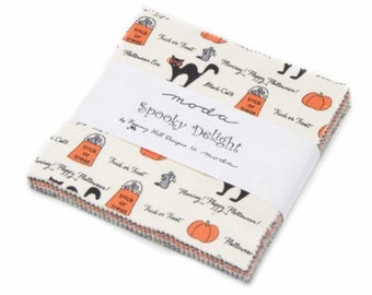 SALE 5 Inch charm pack SPOOKY DELIGHTS Moda Fabric by Bunny Hill Designs