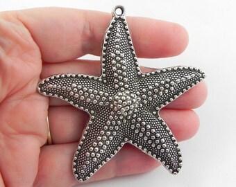 2 Large Starfish Pendant Charm - 66mm x 60mm