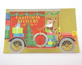 Vintage Unused Mid Century Christmas Card with Santa Claus in a Red Delivery Truck with Gifts