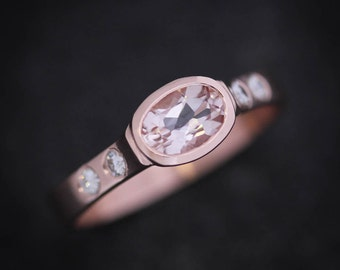 Morganite Ring in 14k Rose Rose Gold, Pink Emerald Oval Morganite Wide Band Ring with Flush Set Conflict Free Diamond