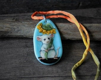 Sweet Little mouse at the rain Necklace, fused glass pendant,  jewelry, mice, sunflower