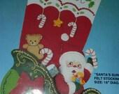 "HUGE SALE Vintage Christmas Felt Bucilla Pattern Kit, 82729 Santa's Surprises, Felt Stocking Size 18"", Santa's Sleigh, Teddy Bear, Candy Can"