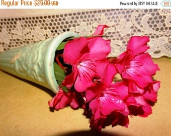 Valentines Day Sale Vintage Pottery Wall Pocket, Atomic Green, Flower Holder, Wall Hanging, Wall Decor, Green Flower Vase