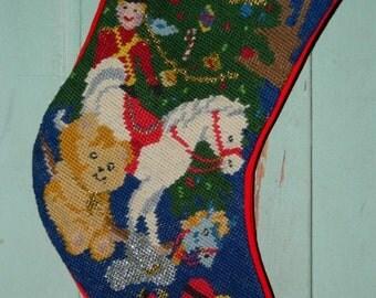 On Sale Needlepoint Christmas Stocking, Rocking Horse, Solder, MONOGRAMMED JOEY, Christmas Decor, Stocking, Christmas Stocking, Holiday Deco